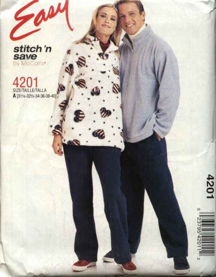 """McCall's Sewing Pattern 4201 Misses Mens Unisex Chest Size 42-48"""" Easy Zipper Front Jacket Top Pants"""