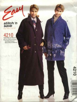 McCall's Sewing Pattern 4210 M4210 Misses Size 4-14 Easy Fleece Wool Button Front Coat Jacket