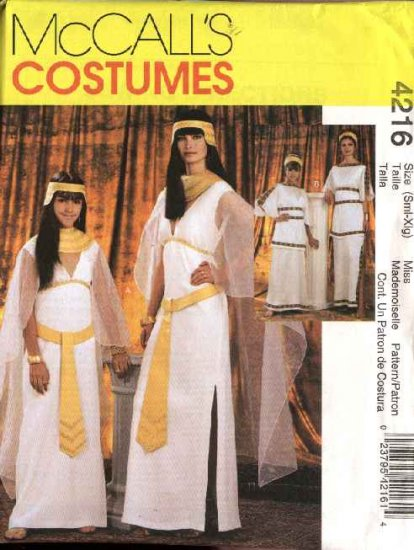 McCall's Sewing Pattern 4216 Misses Size 8-22 Cleopatra Greek Costumes Gown Cape Headpiece