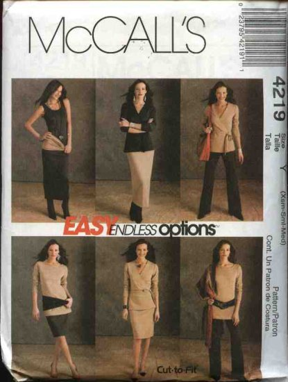 McCall�s Sewing Pattern 4219 Misses Size 4-14 Easy Wardrobe Knit Top Tunic Dress Pants Skirt Tube