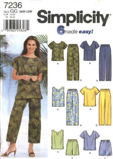 Simplicity Sewing Pattern 7236 Womans Plus Size 18W-24W Summer Wardrobe Tops Pants Shorts