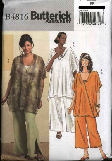 Butterick Sewing Pattern 4816 Womans Plus Size 18W-24W Easy Loose Fitting Tunic Top Pants