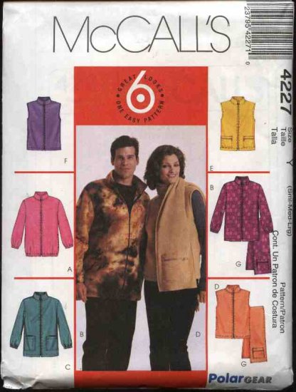 """McCall's Sewing Pattern 4227 Misses Mens Unisex Chest Sizes 34-44"""" Easy Zipper Front Jacket Vest"""