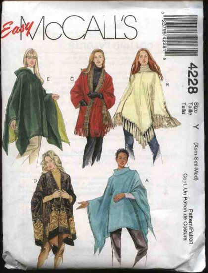 McCall's Sewing Pattern 4228 Misses Size 4-14 Easy Hooded Reversible Ponchos Wraps