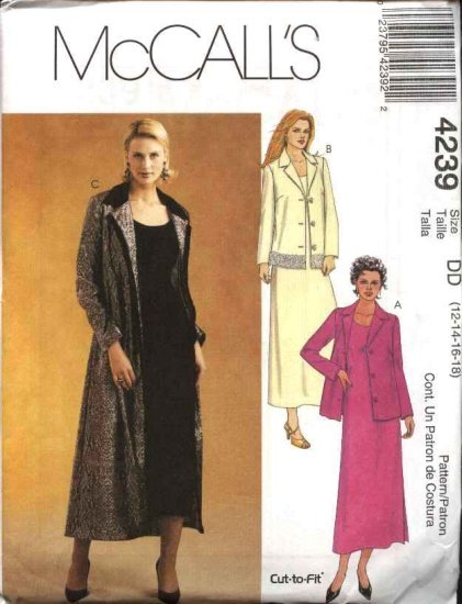 McCall's Sewing Pattern 4239 Misses Size 12-18 Short Sleeve A-Line Dress Unlined Jacket Duster