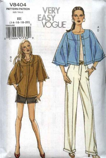 Vogue Sewing Pattern 8404 Misses Size 14-20 Easy Fitted Short Long Pants Jackets Pantsuit