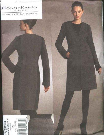 Vogue Sewing Pattern 2990 Misses 18-22 Donna Karan Lined Knee Length Knit Jacket Tapered Skirt