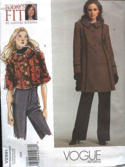 Vogue Sewing Pattern 2991 Misses'/Women's Plus Size 10-32W Unlined jacket Coat