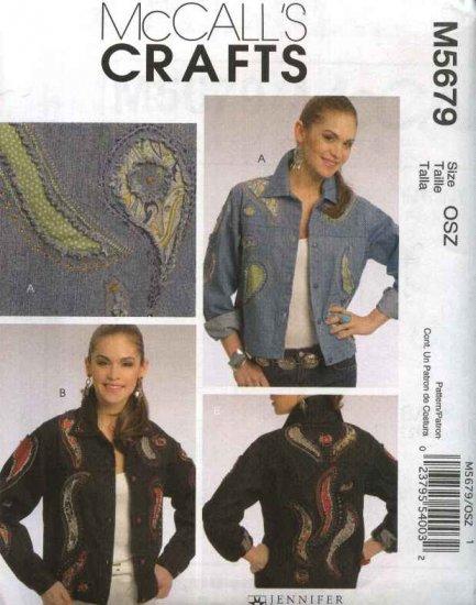 McCall's Sewing Pattern 5679 Misses Size 8-22 Embellished Blue Jean Denim Jacket
