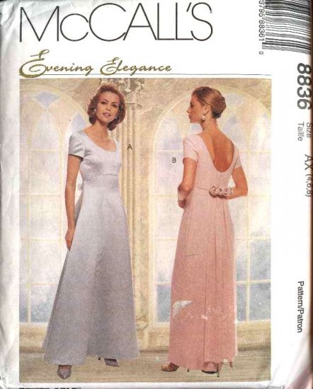 McCall's Sewing Pattern 8836 Misses Size 4-6-8 Wedding Gown Formal Dress Detachable Train