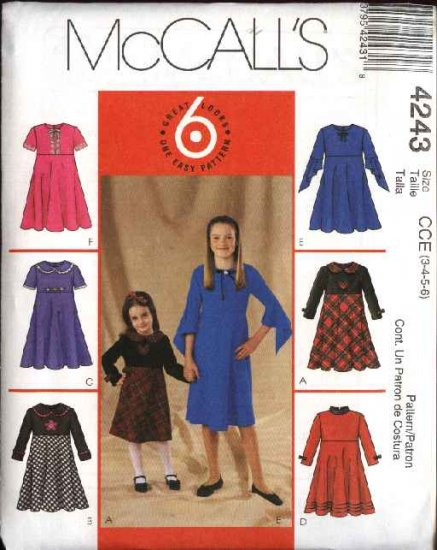 McCall's Sewing Pattern 4243 Girls Size 3-6 Easy Raised Waist Flared Skirt Short Long Sleeves Dress