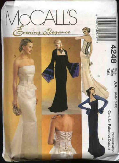 McCall's Sewing Pattern 4248 Misses Size 10-16 Formal  Prom Evening Gown Tops Skirt Bustier