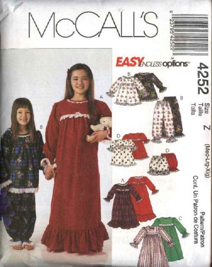 McCall's Sewing Pattern 4252 477 Girls Size 7-16 Easy Nightgowns Pajamas Tops Pants Bloomers