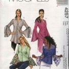 McCall's Sewing Pattern 4257 Misses Size 10-16 Button Front Long Sleeve Shirt
