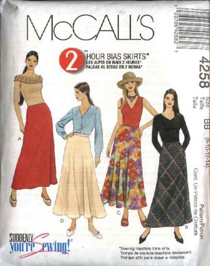 McCall's Sewing Pattern 4258 Misses Size 8-14 2-Hour Bias A-Line Flared Skirts