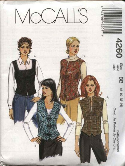 McCall's Sewing Pattern 4260 Misses Size 12-18 Fitted Lined Button Front Vests