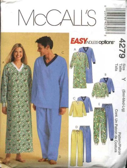 """McCall's Sewing Pattern 4279 Misses Mens Unisex Chest Size 31 1/2 - 40"""" Pajamas Nightshirt Nightgown"""