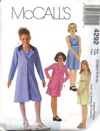 McCall's Sewing Pattern 4292 Girls Size 7-12 Sleeveless Raised Waist Dress Spring Jacket Coat
