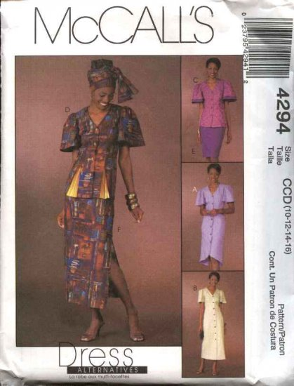 McCall's Sewing Pattern 4294 Misses Size 10-16 Ethnic Style Button Front Dress Top Skirts Headwrap