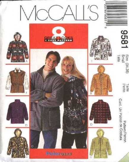 """McCall's Sewing Pattern 9581 Mens Misses Unisex Chest Size 34-36"""" Easy  Zipper Front Hooded Jacket"""