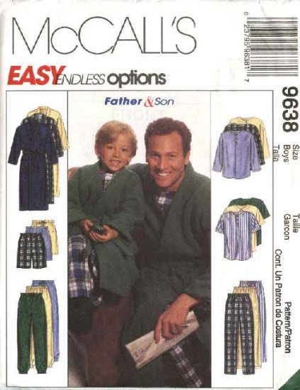McCall's Sewing Pattern 9638 Boys Size 3-8 Easy Pajamas Pullover Top Pants Shorts Front Wrap Robe