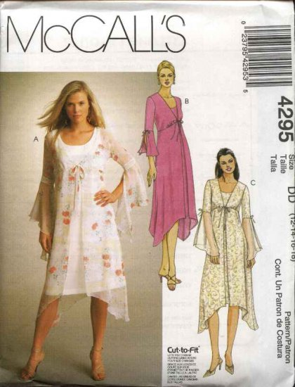 McCall's Sewing Pattern 4295 Misses Size 8-14 Sleeveless A-Line Dress Tie Front Loose Dusters