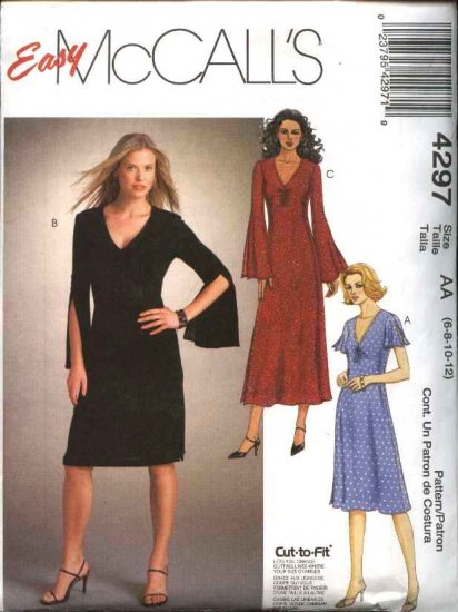 McCall's Sewing Pattern 4297 Misses Size 10-16 Easy Long Short Sleeve Knit Dresses