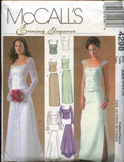 McCall's Sewing Pattern 4298 Misses Size 12-18 Evening Formal Prom Wedding Bridal Top Skirt