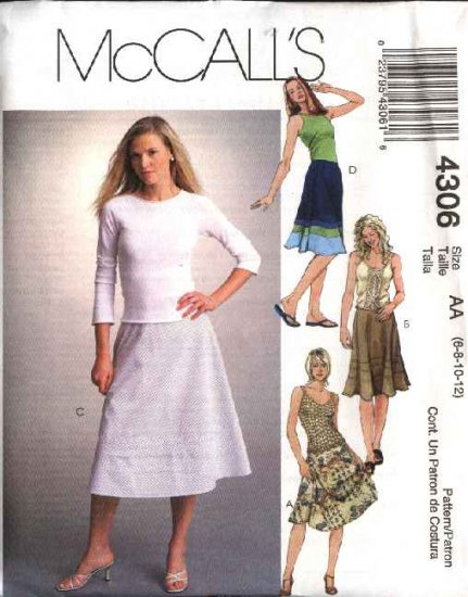 McCall's Sewing Pattern 4306 Misses Size 6-12 Bias Flared Embellished Classic Skirts