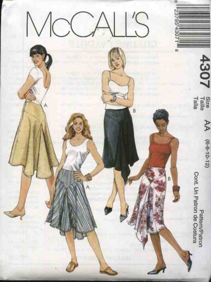 McCall's Sewing Pattern 4307 Misses Size 6-12 Yoked Godets Flared Short Skirts