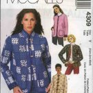 McCall's Sewing Pattern 4309 Misses Size 4-14 Lined Quilted Cardigan Jacket