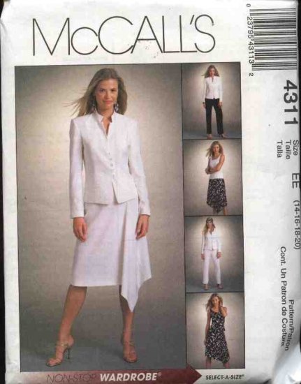McCall's Sewing Pattern 4311 Misses Size 14-20 Wardrobe  Lined Jacket Top Fitted Long Pants Skirt