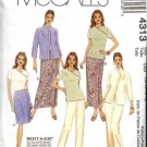 McCall's Sewing Pattern 4313 Misses Size 6-12 Wardrobe Jacket Top Wrap Front Skirt Long Pants