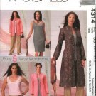 McCall's Sewing Pattern 4314 Misses Size 12-18 Wardrobe Unlined Jacket Duster Top Pants Dress