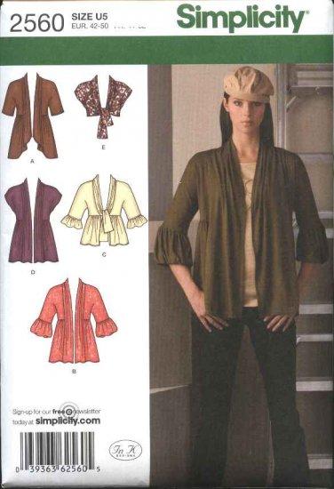 Simplicity Sewing Pattern 2560 Misses Size 8-16 Knit Cardigans Jackets Shrug Bolero