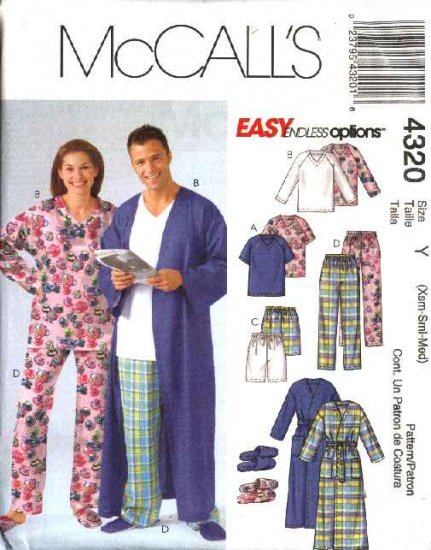"""McCall's Sewing Pattern 4320 Misses Mens Unisex Chest Size 38-44"""" Easy Pajamas Robe Slippers"""