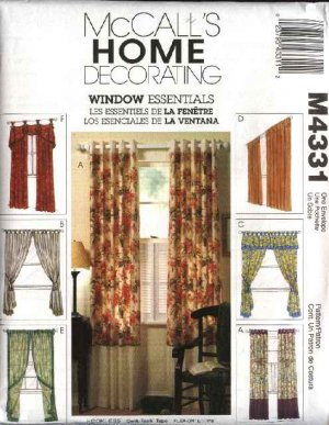 McCall's Sewing Pattern 4331 Window Treatments Dressings Curtains Valance Panels