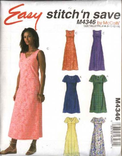 McCall's Sewing Pattern 4346 Misses Size 8-14 Easy A-Line Sleeveless Short Sleeve Dresses
