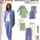 McCall's Sewing Pattern 4347 Misses Size 8-14 Easy Pullover Top Button Front Jacket Vest Pants