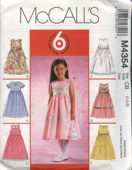 McCall's Sewing Pattern 4354 Toddler Girls Size 1-3 Easy Sleeveless Short Sleeve Full Skirt Dress