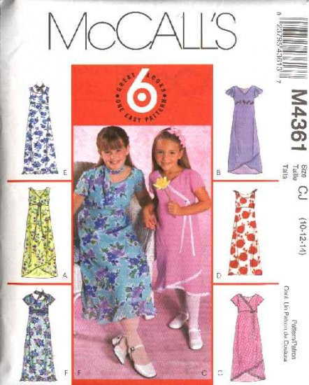 McCall's Sewing Pattern 4361 Girls Size 10-14 Easy Pullover Empire Raised Waist Summer Dress Scarf