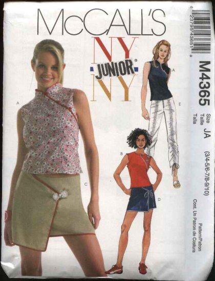 McCall's Sewing Pattern 4365 Junior Size 3/4-9/10 NYNY  Sleeveless Top Mini Skirt Pants