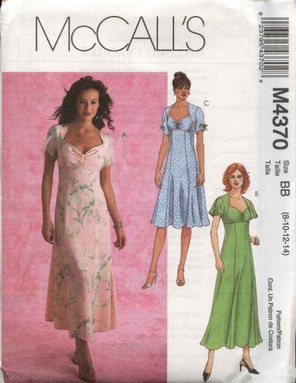 McCall's Sewing Pattern 4370 Misses Size 12-18 Empire Waist Flared Skirt Dress