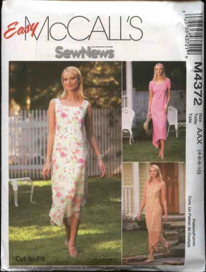 McCall's Sewing Pattern 4372 Misses Size 4-10 Easy Sew News Layered Sleeveless Short Sleeve Dress