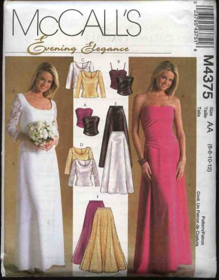McCall's Sewing Pattern 4375 Misses Sizes 6-12 Formal Prom Evening Two-Piece Lined Tops Skirts