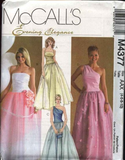 McCall's Sewing Pattern 4377 Misses Size 4-10 Quinceanera Prom Formal Full Skirted Dresses