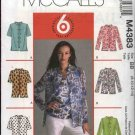 McCall's Sewing Pattern M4383 4383 Misses Size 8-14 Easy Sleeveless Top Shell Button Front Shirt