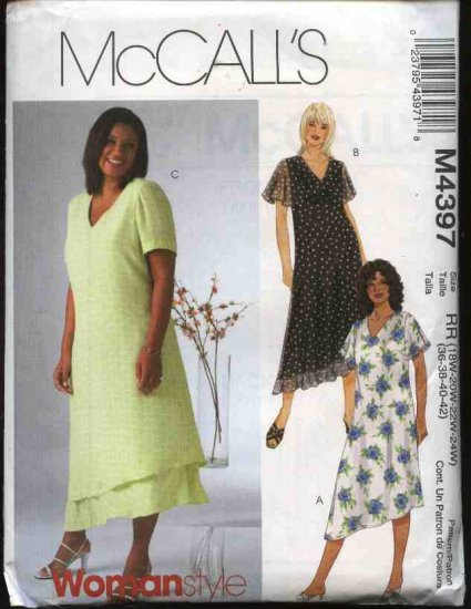 McCall's Sewing Pattern 4397 Womans Plus Size 18W-24W Lined Layered Short Sleeve A-Line Dress