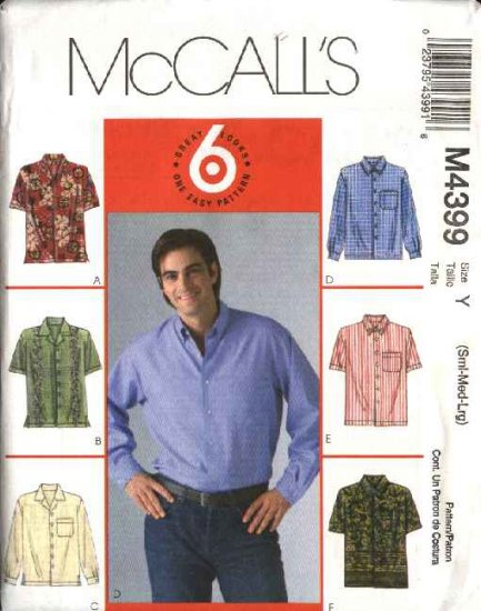 """McCall's Sewing Pattern 4399 Mens Chest Size 46-56"""" Classic Button Front Long Short Sleeve Shirts"""