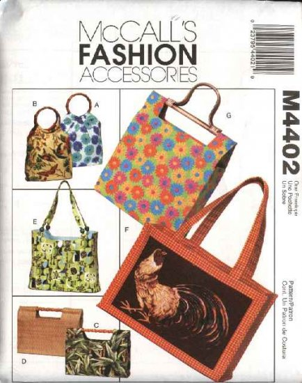 McCall�s Sewing Pattern 4402 Lined Fashion Handbags Totes Purses